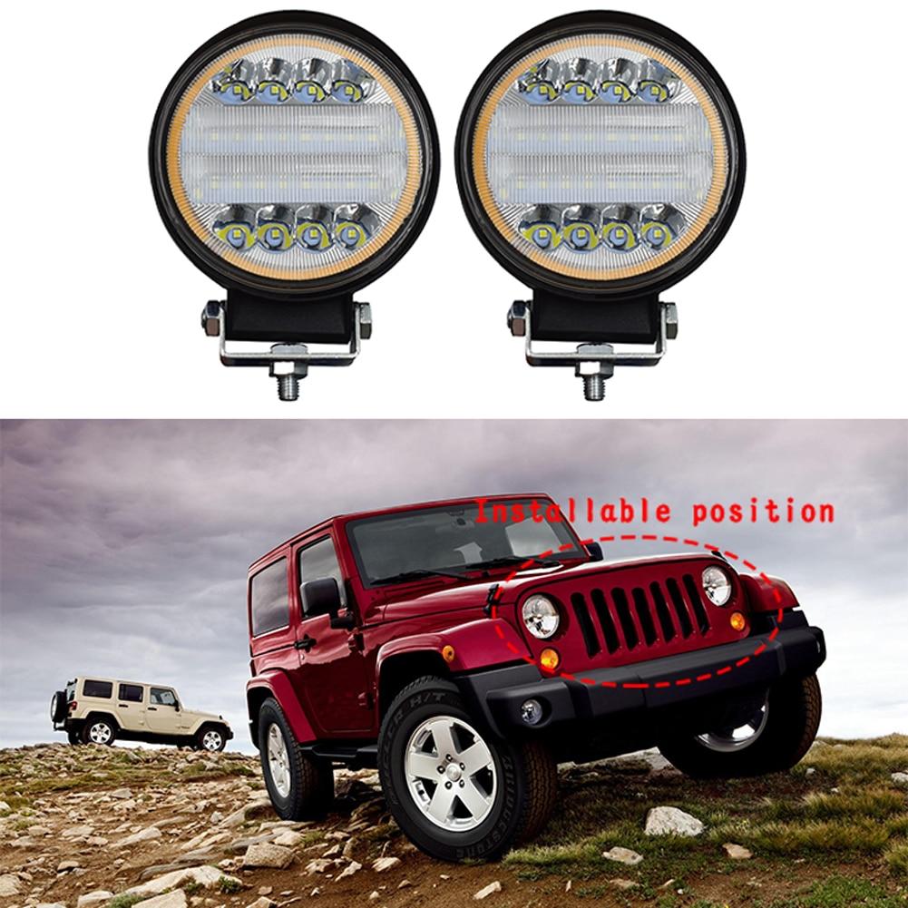 """2x4 """"pulgadas, luz LED de trabajo redonda para coche, 144W, foco de inundación para conducción, Luz antiniebla para todoterrenos, todoterrenos, lámpara reacondicionada, luz antiniebla circular para coche"""