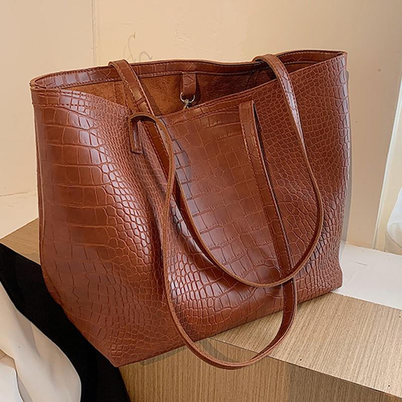 2 Sets Women's Stone Pattern Handbags Soft Leather Totes Bags for Women 2020 New Luxury Designer Ladies Top-handle Shoulder Bag