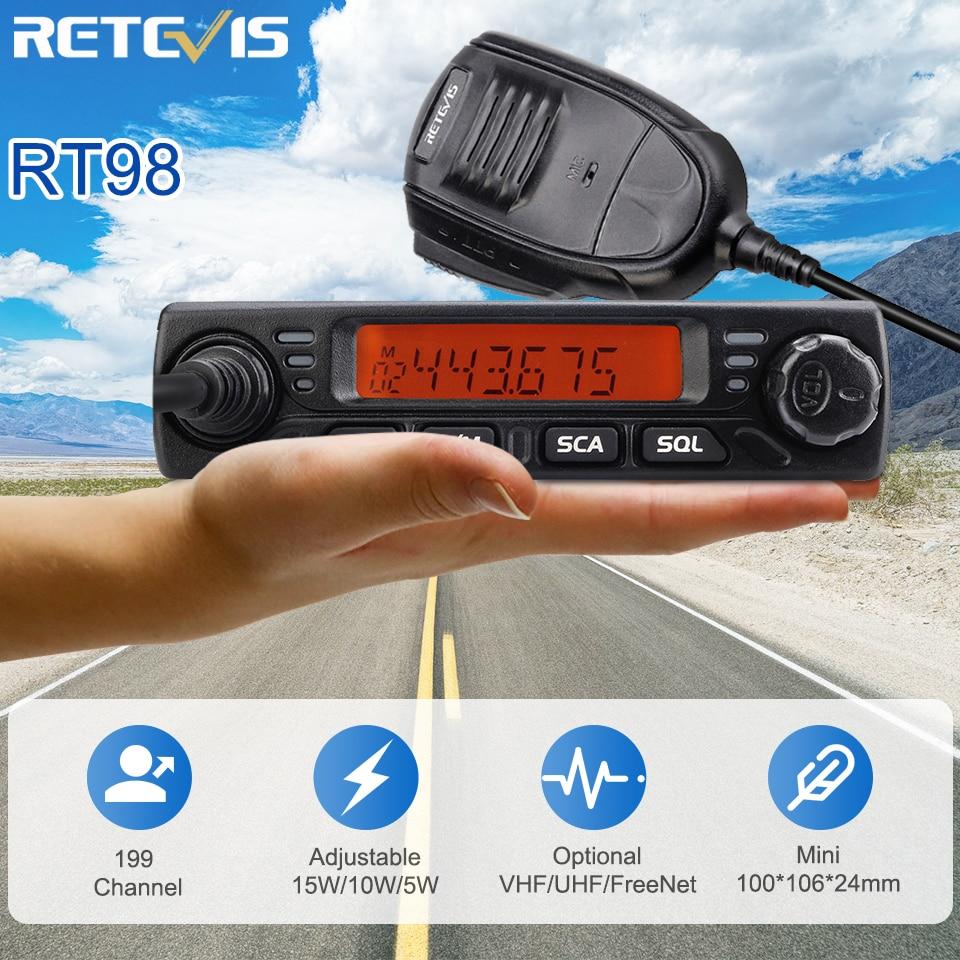RETEVIS RT98 рация автомобильная 15 Вт VHF (или UHF) Автомобильная Мобильная радиостанция автомобильная рация Ham Радио рация Дальнобойщики