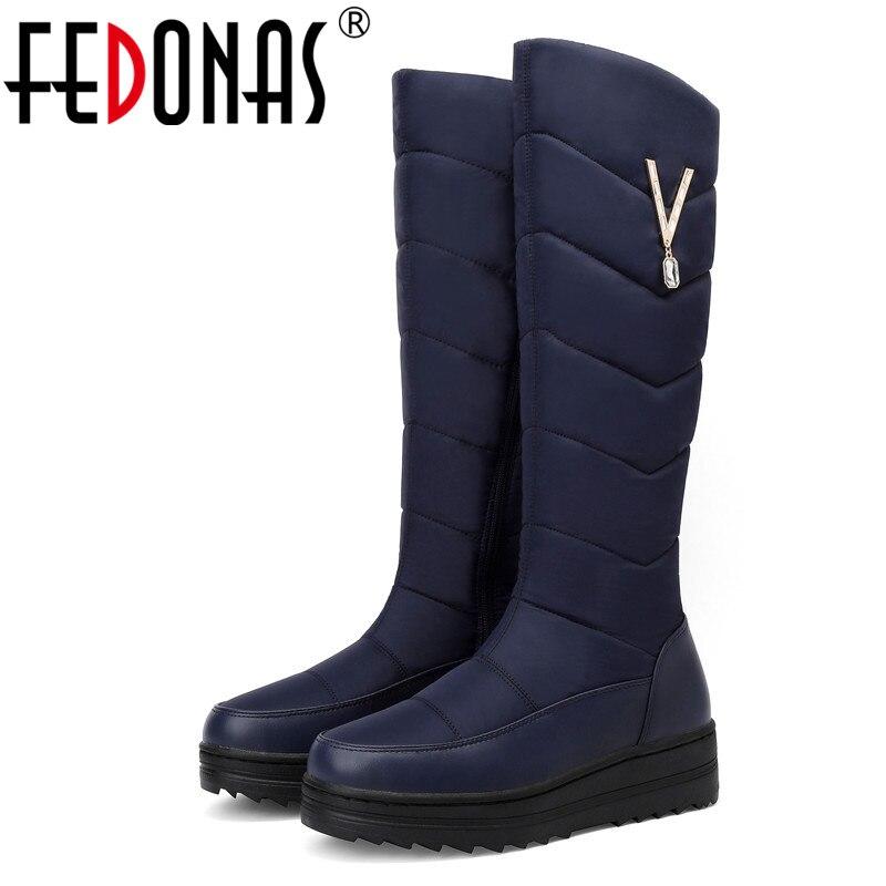 FEDONAS cremallera lateral caliente las mujeres hasta la rodilla botas de invierno de 2020 nuevo botas para la nieve fiesta básico Casual zapatos de mujer zapatos de gran tamaño botas con plataforma