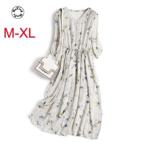 Silk dress female mulberry silk a word  sleeve floral shirt  in summer silk dress M to XL