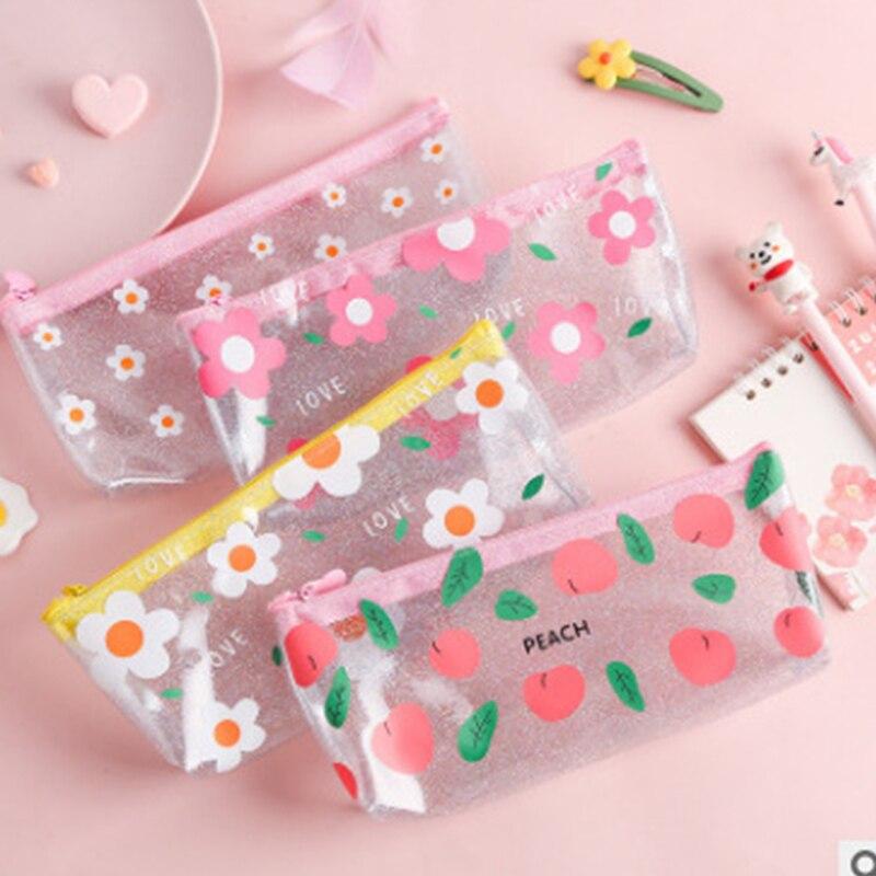 1 шт. симпатичный чехол для карандаша, цветочный прозрачный Подарочный чехол, школьный пенал, чехол для карандашей, искусственная Канцеляри... чехол