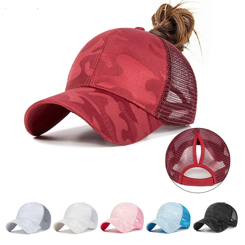 2020 Women's Ponytail Baseball Cap Women Snapback Summer Mesh Hat Female Fashion HIp Hop Hats Casual Adjustable Outdoor Bone new 2021high quality unisex women men baseball cap cartoon embroidery bone snapback hat summer outdoor adjustable hip hop hats