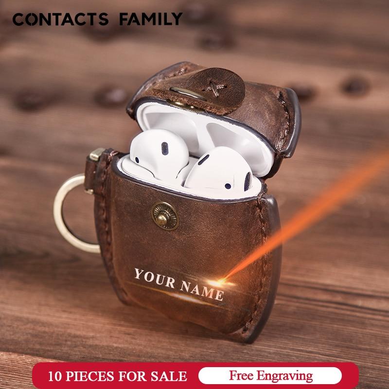 Funda de auriculares para Airpods Funda de cuero de lujo genuina para Apple AirPods 2 Funda Air pods accesorios para auriculares bolsa