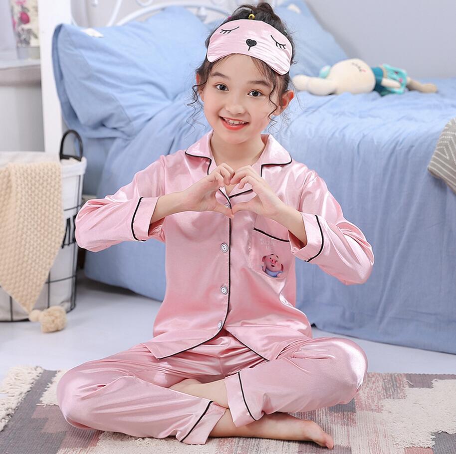 De seda de manga larga de otoño e invierno pijamas de los niños con ojo chica con máscara conjunto de tela adorable chico Pijamas Niño ropa de dormir ropa