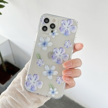 For iPhone 12 Purple Flower Phone Case For iPhone 11 12 Pro Max Mini 7 8 Plus X XR XS SE2020 Clear S