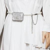 daeyoten 2021 new pearl mini waist bag flash diamond rhinestone belt bag party fashion coin purse fanny pack for women zm1067