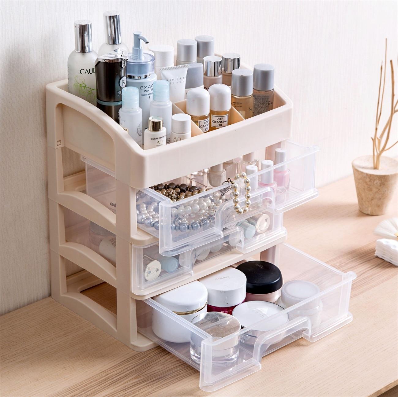 خزانة درج متعدد الطبقات مستحضرات التجميل تخزين الرف فرشاة للمكياج حامل المنزل طاولة مكتبية أشتات البلاستيك الغبار واقية المنظم