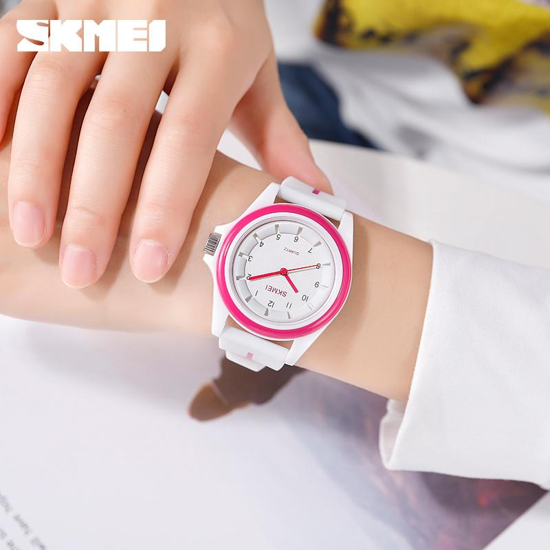 SKMEI Fashion Women Men Watches Quartz Wristwatches 3Bar Waterproof Personality Colorful Silicion Band Sport Relogio Feminino enlarge