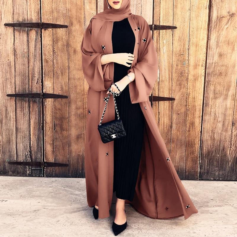 Summer New Style Muslim Islamic Arab Women Prayer Clothes Fashion Beaded Ramadan Dress Morocco Malaysia Ms Elegant Cardigan Robe