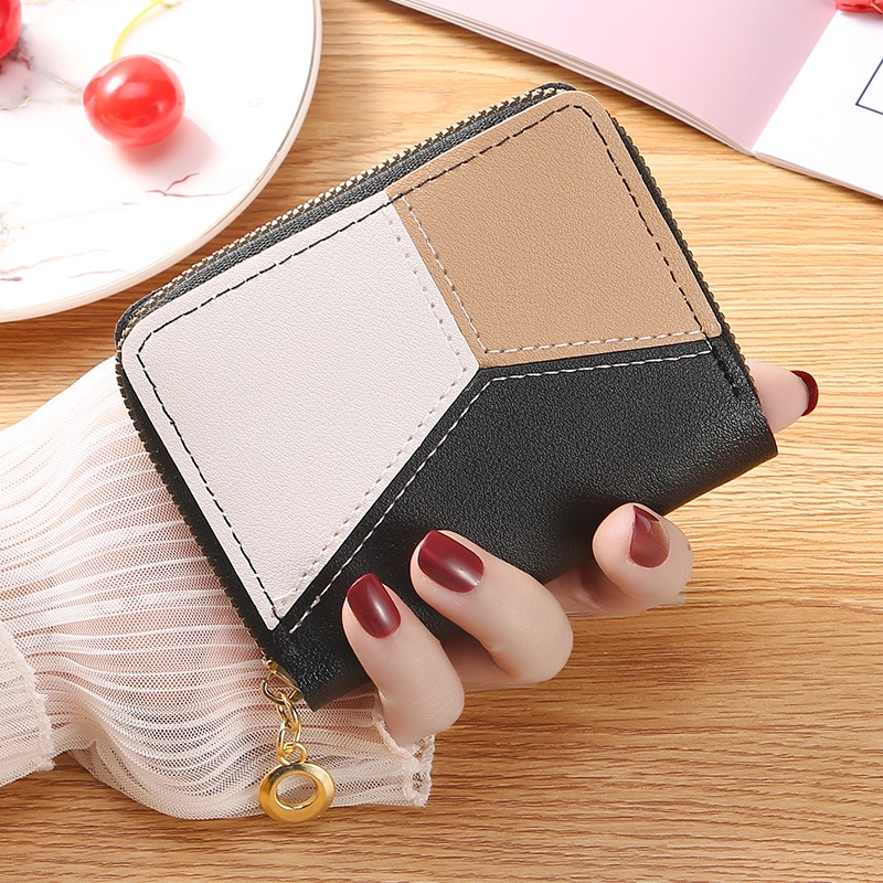 2021 ladies coin purse student short zipper tassel wallet new fashion contrast color stitching coin purse card holder недорого