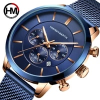 men watches top brand luxury stainless steel blue waterproof quartz watch men fashion chronograph male bussiness casual watches