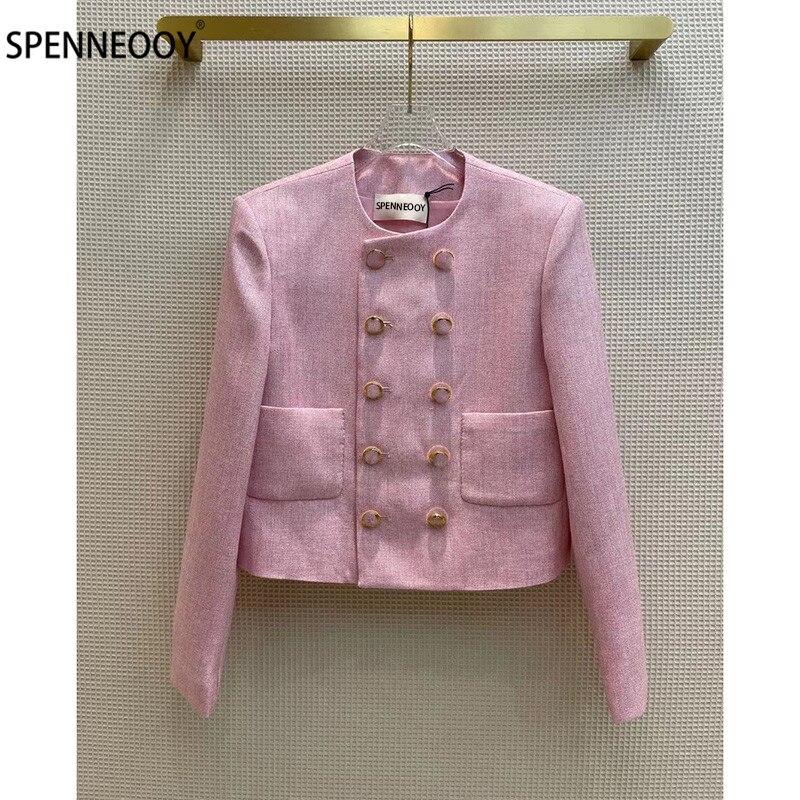 SPENNEOOY مصمم العلامة التجارية تويد الوردي جاكيتات معطف المرأة الفاخرة مزدوجة الصدر إلكتروني طباعة بطانة قصيرة أبلى