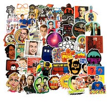 Pegatinas de dibujos animados de Big Bang Theory, serie de TV para equipaje, coche, portátil, Notebook, calcomanía, nevera, Skateboard, 50 Uds., F3