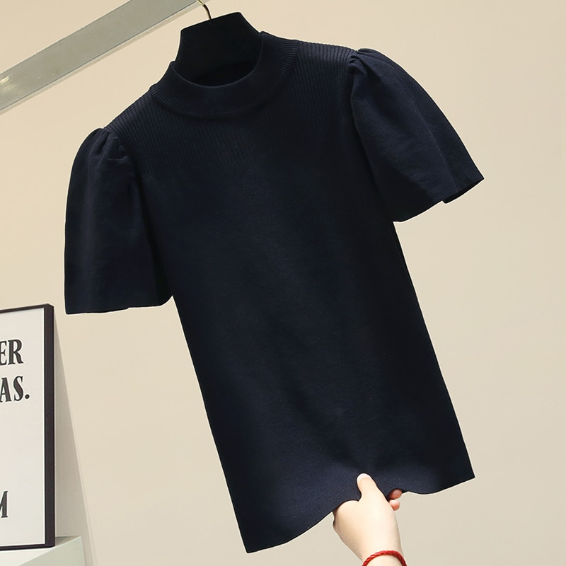 Fashion O collar Solid color sweater bottoming shirt women's Puff sleeve thin pullover 2021 summer Ice silk Short sleeve