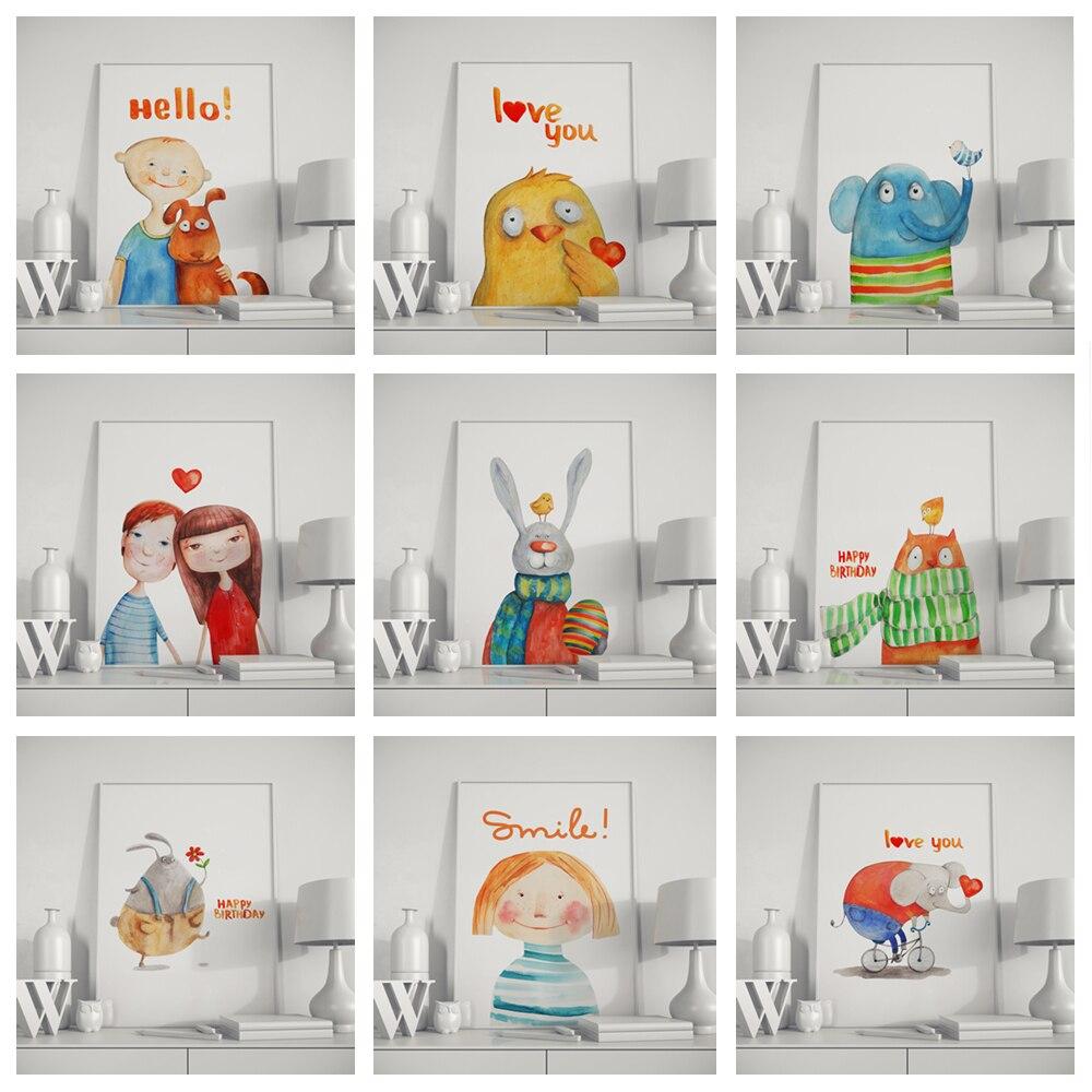 De dibujos animados llamada historia de la familia de la pared de habitación de los niños, arte de decoración del lápices de colores dibujar niño niña elefante conejo o128