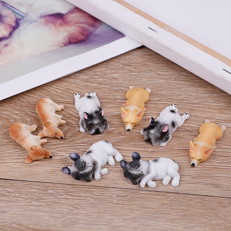 2 pçs japonês paisagem miniaturas estatueta decoração kawaii resina corgi brinquedos para cães série sonolento estatuetas em miniatura caçoa presente