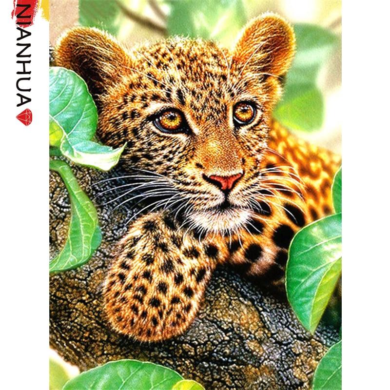 Алмазный мозаичная картина Набор для творчества животных с декором в виде маленькой милой Леопард 5D Настенная роспись квадратные фото вышивка подарочный набор для дома