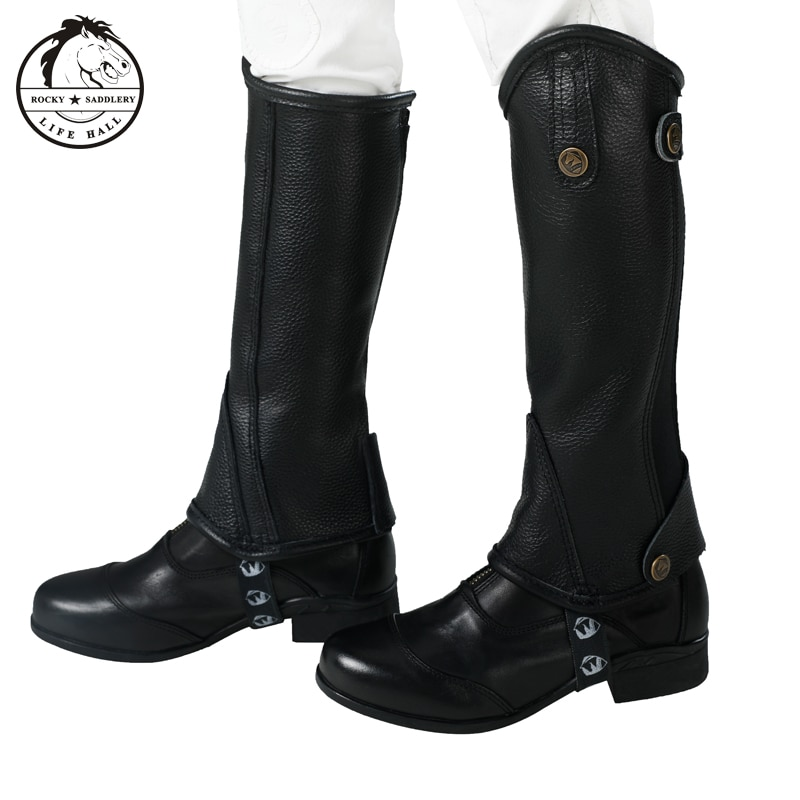 Cavassion kid's half-chaps Leather half-chaps , Thick leather Little knight equestrian equipment Protect your legs while riding