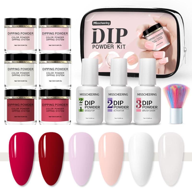 Lamemoria 10pcs Dipping Nail Powder Set Nude Pink Dip Nail Glitter Powder Pigment Natural Dry Nail Art Decorations Accessories