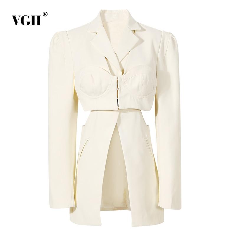 سترات بيضاء ضيقة غير رسمية للنساء من VGH بأكمام طويلة وخصر مجمّع ملابس موضة كورية للنساء لخريف 2021