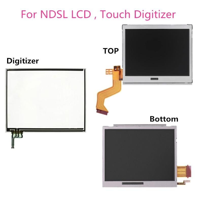 Tela de lcd para nintendo ds lite dsl, tela de toque com display lcd superior/inferior para console de jogos