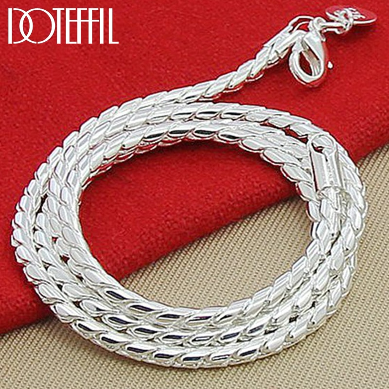 AliExpress - DOTEFFIL 925 Sterling Silver 3mm Snake Chain Necklace Woman Man Fashion Simple 20 Inches Chain Jewelry