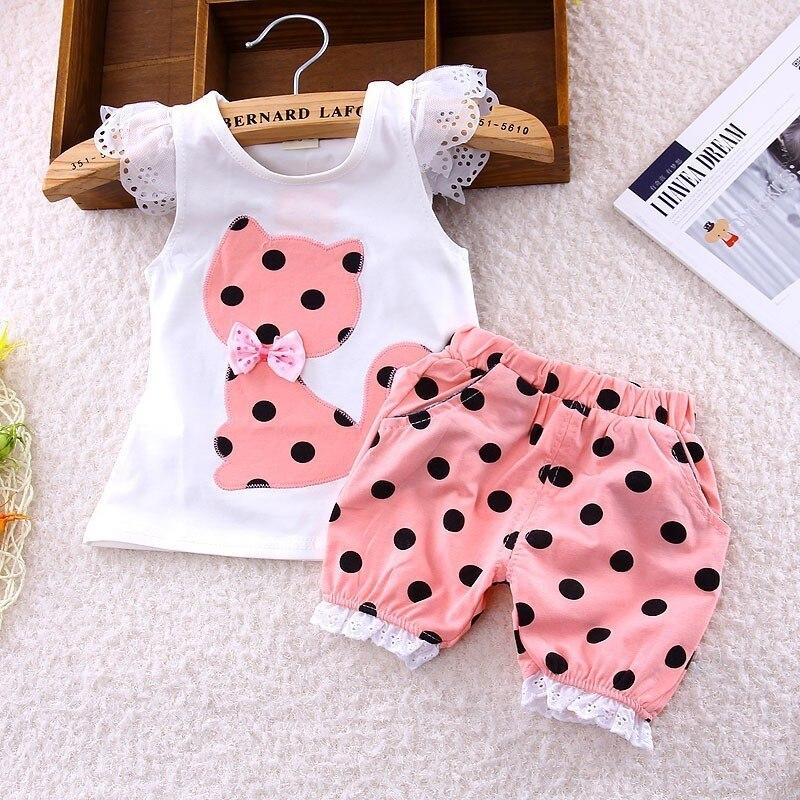 Summer Korean Baby Girls Clothing Set Children Bow Cat Shirt+shorts Suit 2pcs Kids Polka Dot Clothes Set Suit