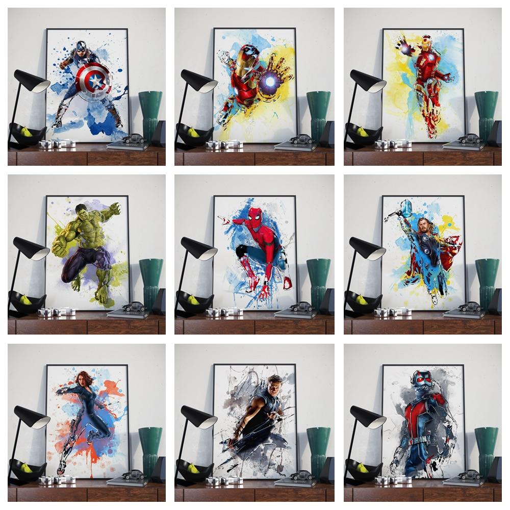משפחת קיר אמנות קישוט ציור פוסטר קריקטורה בצבעי מים מארוול איש ברזל שחור אלמנה האלק נמלה ור o109