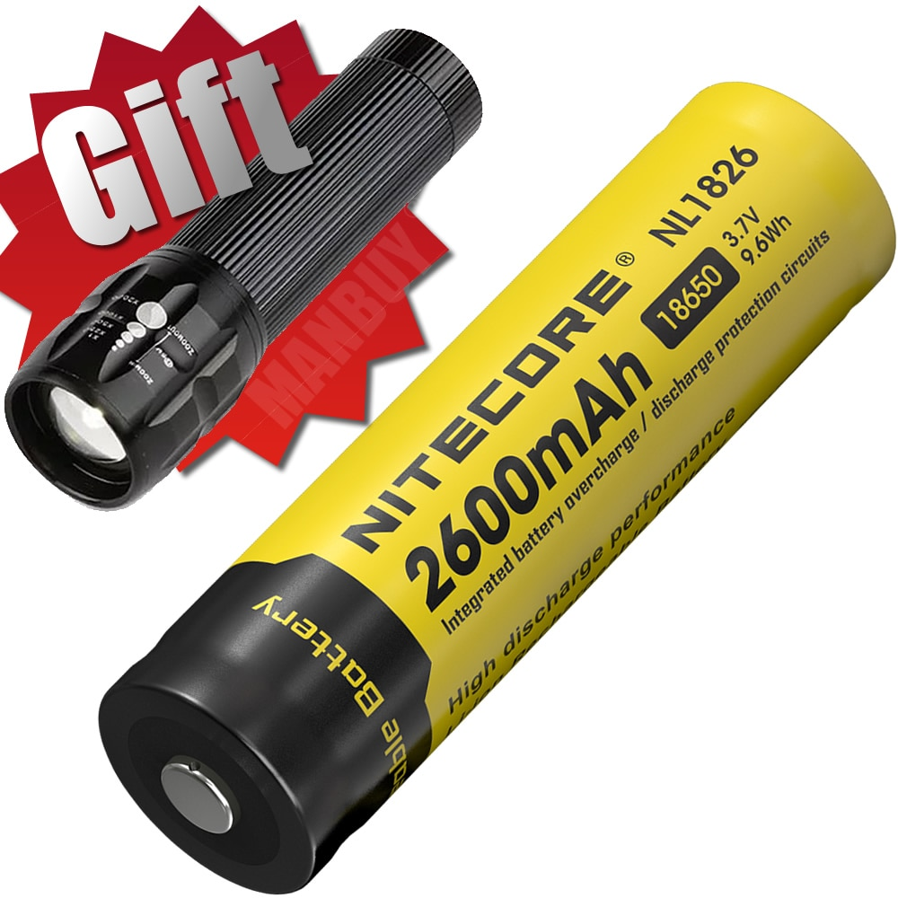 2020 NITECORE NL1826 2600mAh 3,7 V 9.6Wh protegido 18650 Li-ion batería recargable botón superior alto Aparato de drenaje linterna libre
