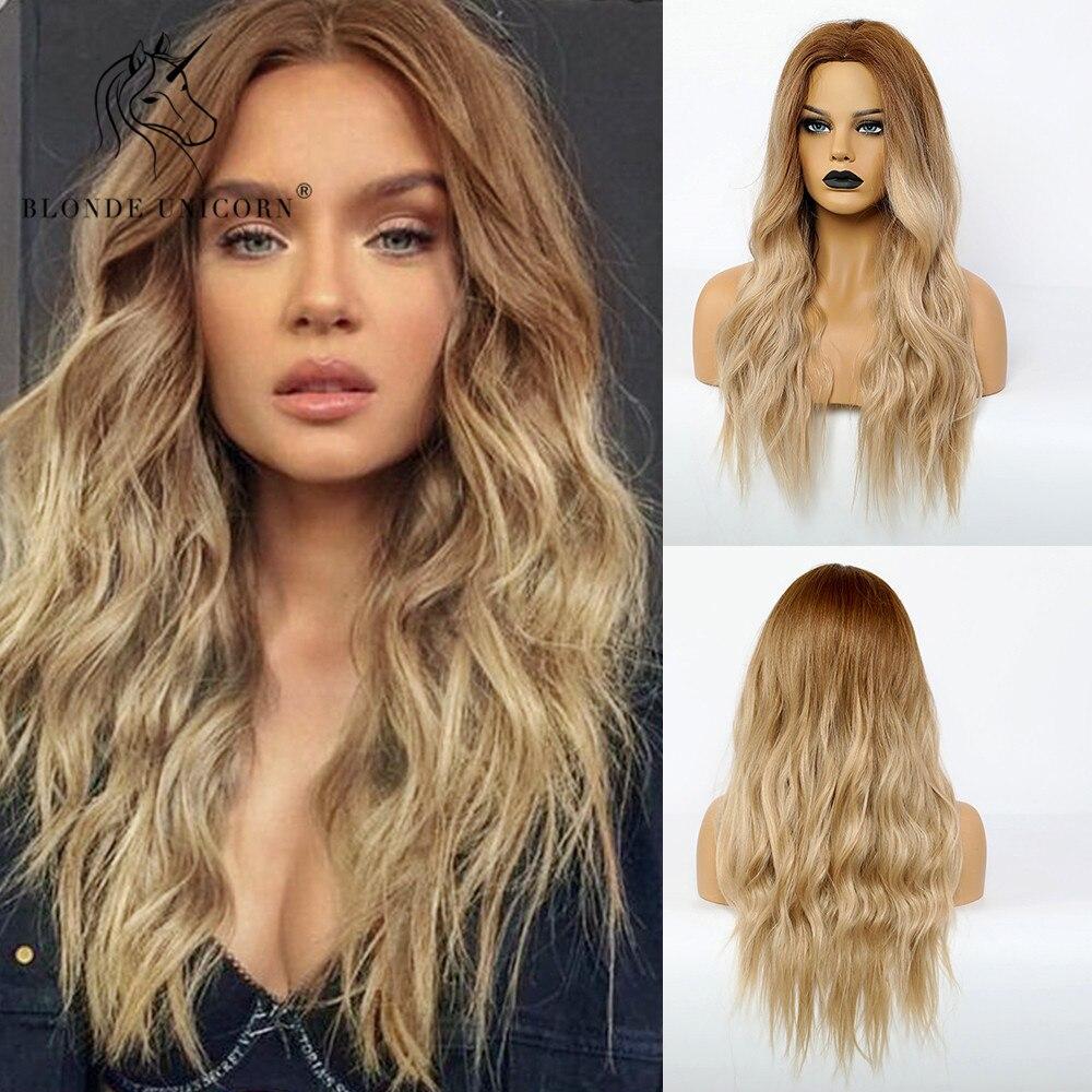 Loira unicórnio sintético escuro raiz ombre luz peruca marrom para preto branco feminino centro parte onda de água perucas de cabelo resistente ao calor
