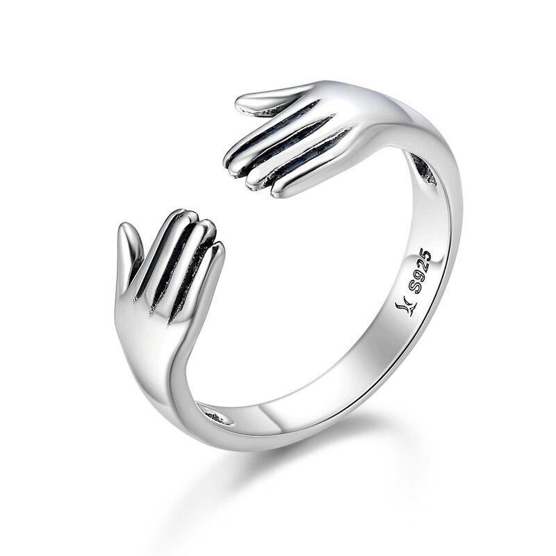 Plata de Ley 925 auténtica, doble capa, dame un abrazo, anillos abiertos para dedos para mujeres, joyería de plata de ley TDS136