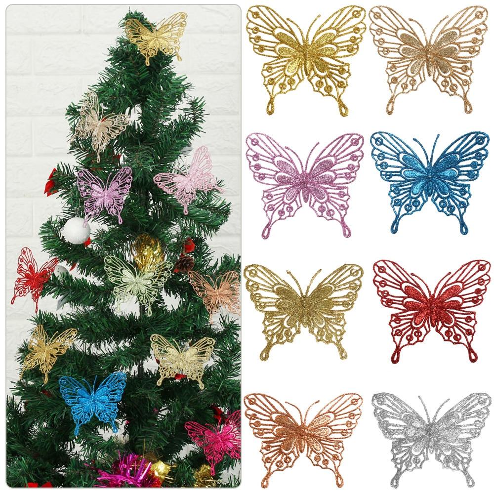 Papillons de noël ornements d'arbre de noël monocouche or poudre paillettes fleur artificielle bricolage artisanat décor d'arbre de noël