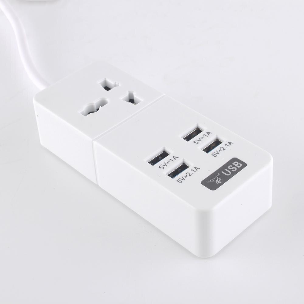 Tira de alimentación de cable de extensión USB, cargador multi USB 4, toma de corriente de 1 orificio, tiras de placa estándar europea toma de corriente, interruptor de enchufe