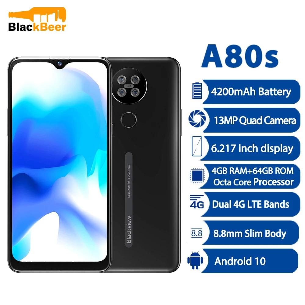 Blackview A80s Android 10 Smartphone 4GB 64GB Octa Core Moibile Phone 6.21 Inch 4G Cellphone Helio A25 13MP Quad Camera 4200mAh
