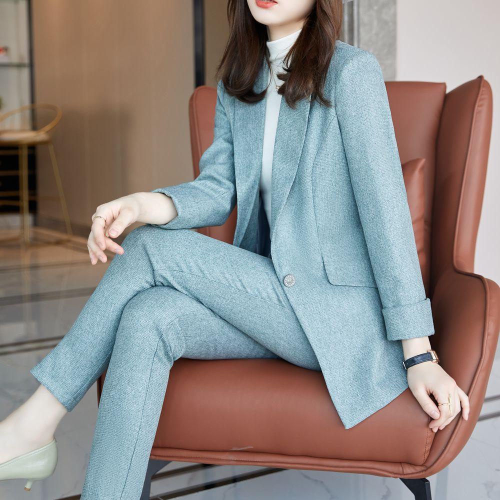 Korean office two piece suit skirt suit autumn and winter elegant long sleeve loose jacket pants two piece women's suit purple