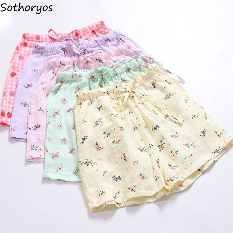 Women Sweet Sleep Bottoms Floral Shorts Loose Candy Color Lovely Girls Nightwear Cozy Breathable Tre