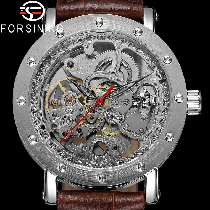 FORSINING, reloj de pulsera mecánico automático para hombres, reloj deportivo militar para hombre, reloj de Hombre esqueleto de cuero genuino de lujo de marca superior 8159