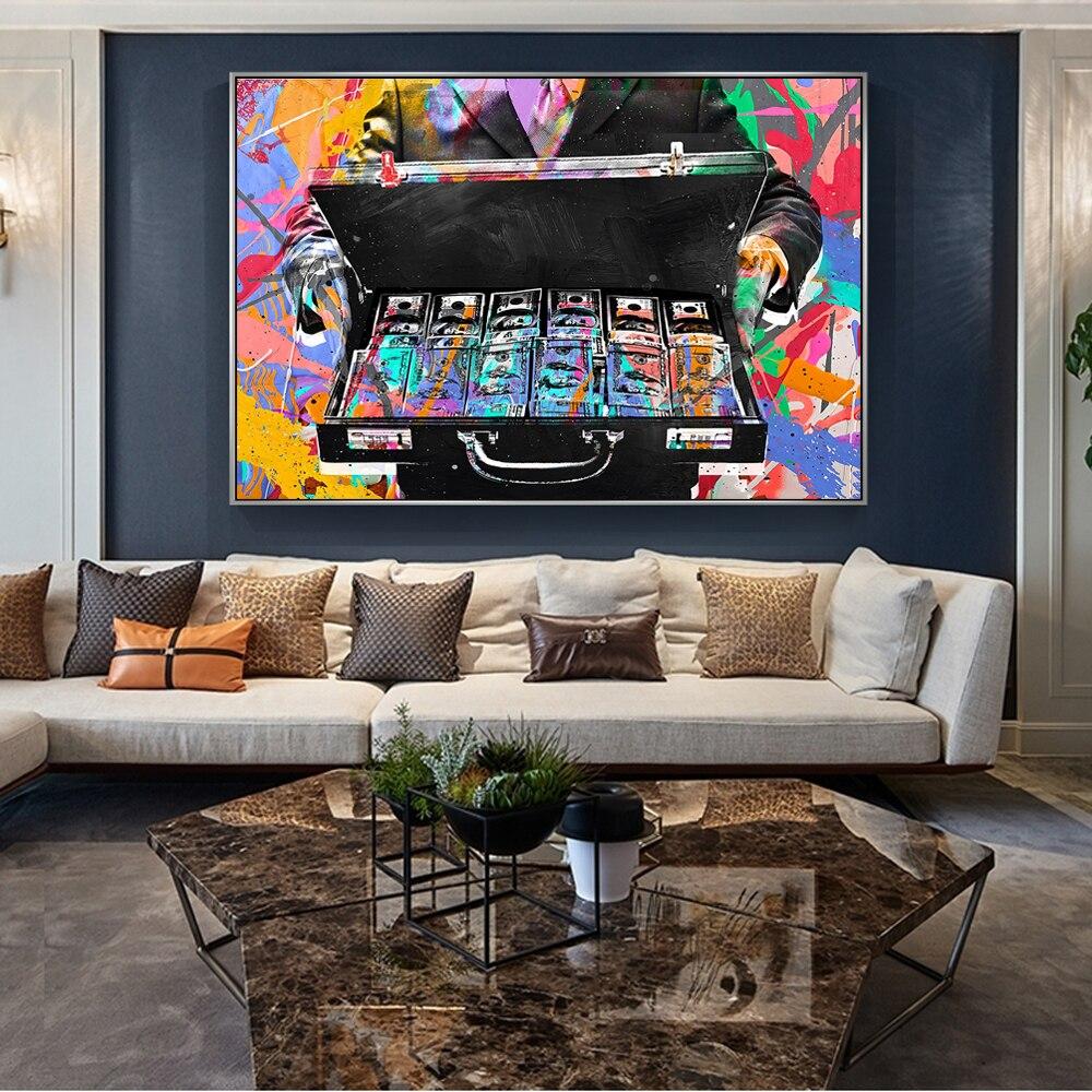 Decoración del hogar nórdico abstracto inspirador dinero lienzo pinturas pared carteles impresiones Graffiti arte calle lienzo Modular marco de fotos