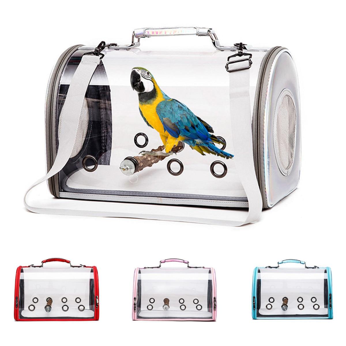 Portabebés portabebés para mascotas, transparente, transpirable, bolsa de viaje, bolsa de mano para loro, bolso de viaje para pájaros al aire libre, bolsa de viaje