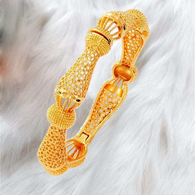 1 Uds moda brazaletes de Dubái para las mujeres de color oro brazalete y pulsera África joyería etíope Middlle este novia de la boda regalo