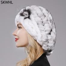 New Lovely Lady Beret Caps Knitted Real Rex Rabbit Fur Beanie Hat Women Winter Rex Rabbit Fur Hats 1