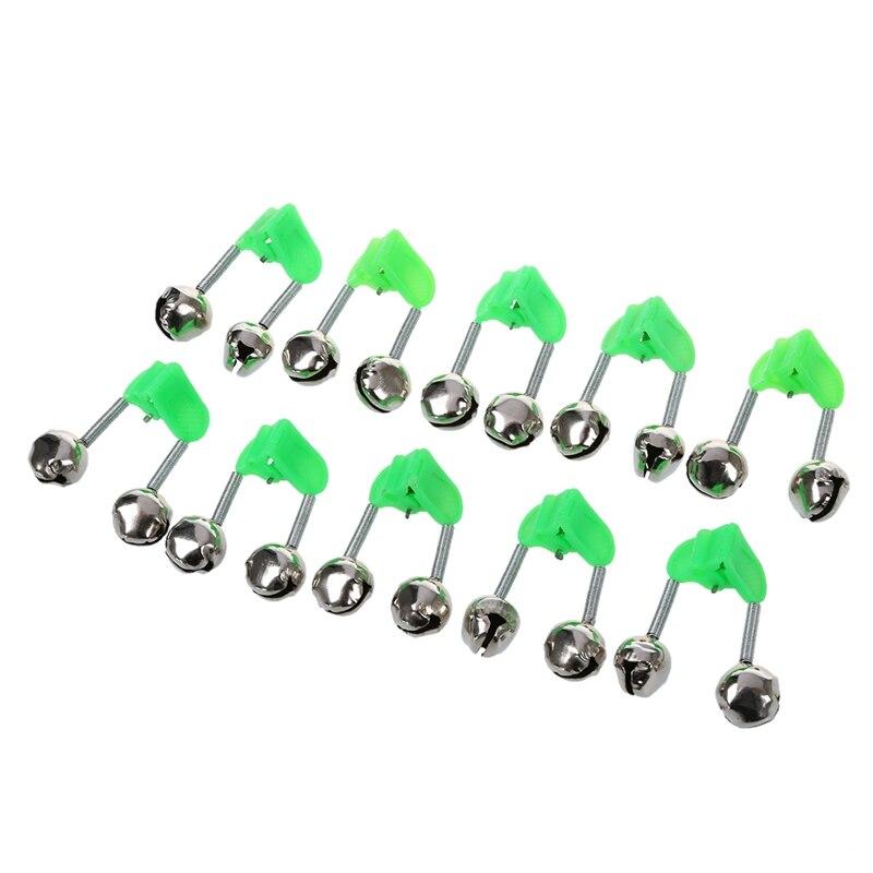 Clip con resorte verde de 10 Uds., doble alarma de varilla de pesca, campanas plateadas