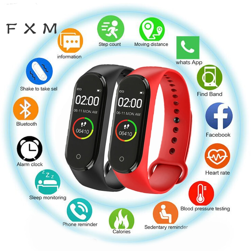 Hot New M4 Smart Sports Blood Pressure Heart Rate Monitor With Watch Men And Women Monitor Multi-Fun