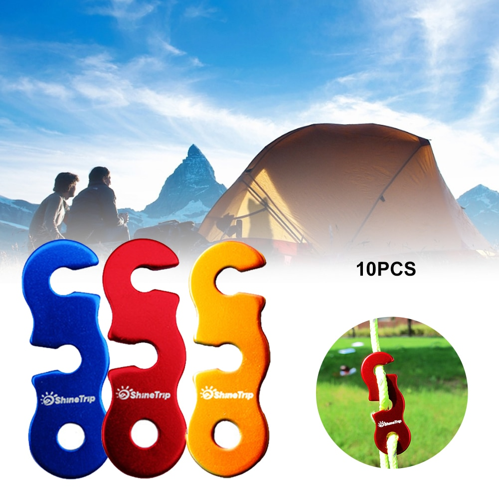 10pcs Tent Wind Rope Buckle Mini Cord Adjuster Tent Tensioners Camping Wind Rope Stopper Awning Adjust Buckles