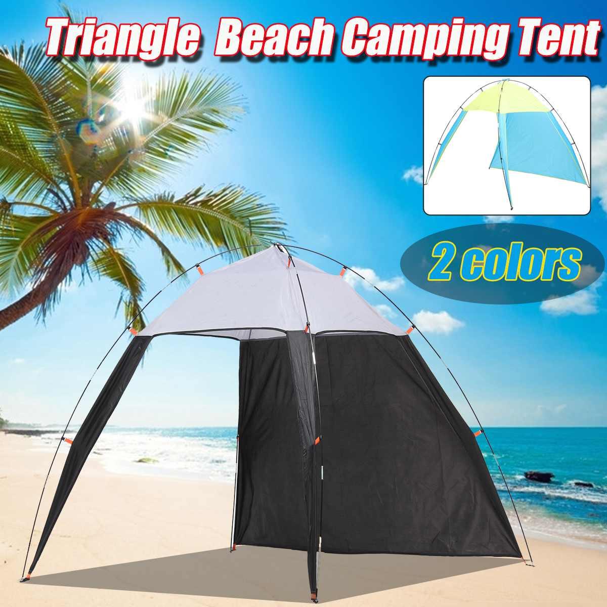 5-8 Person Tent Pergola Windproof Outdoor Summer UV Tarp Sun Shade Camping Fishing Triangle Beach Cabana Tent Canopy Portable