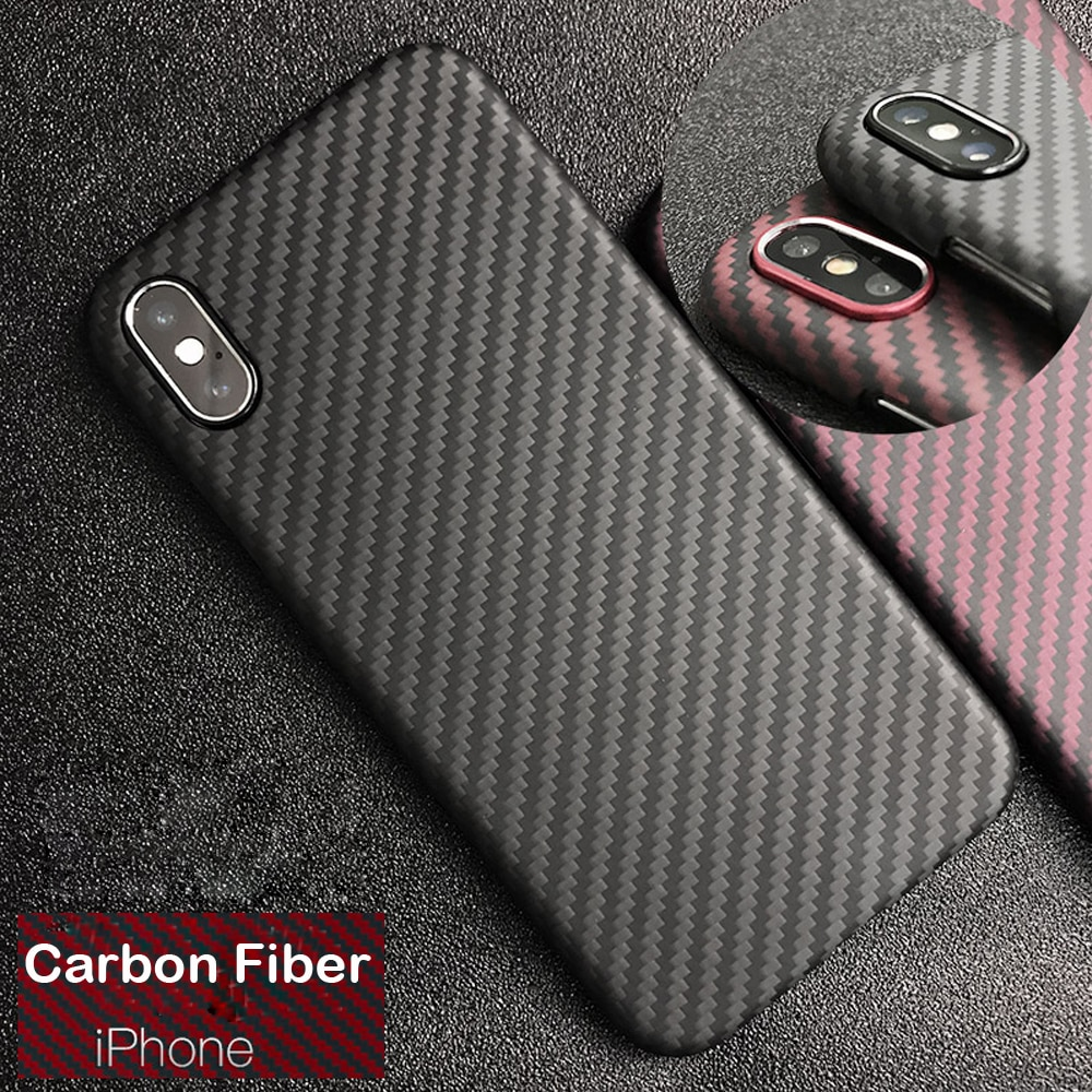 Funda protectora delgada de lujo de fibra de carbono Real y Kevlar de 0,6mm para iPhone X XS XR Max 7 8Plus