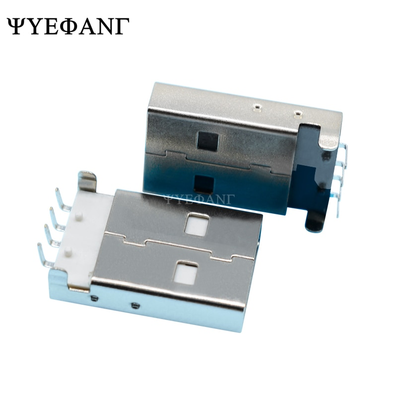10 Uds USB 2,0 macho A tipo USB PCB conector enchufe ángulo recto 90 Grado de inmersión macho conectores USB negro blanco