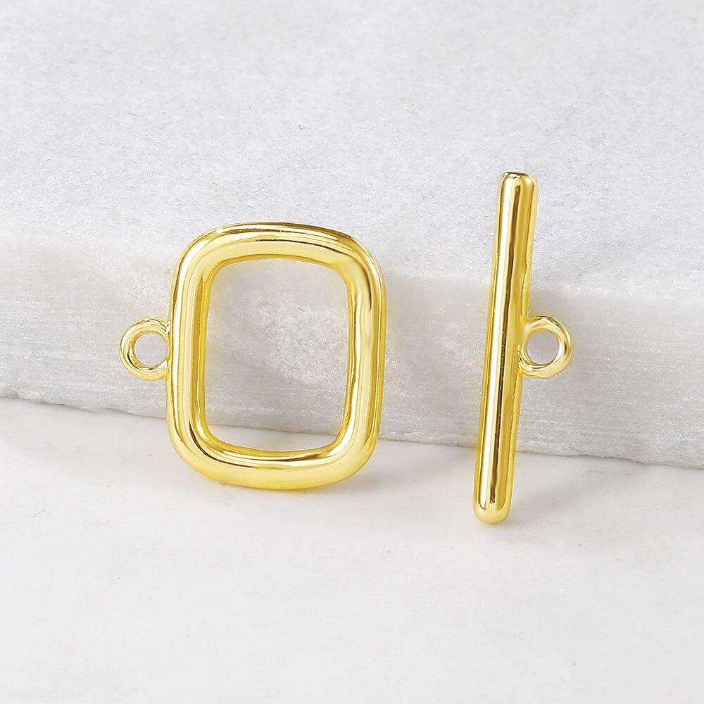 4 juegos O14x14MM T5x19MM 24K Color dorado plateado latón brazalete rectangular O cierres de palanca de alta calidad Diy accesorios de joyería