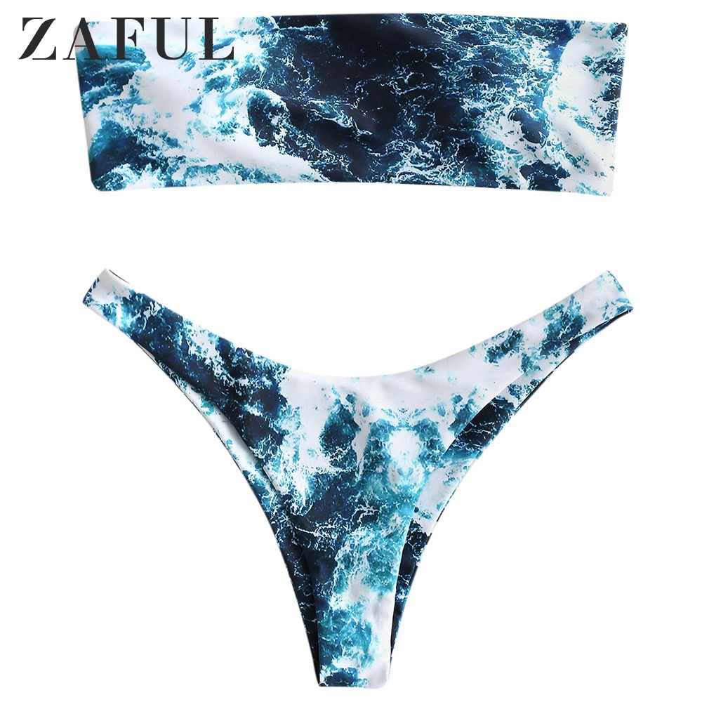 ZAFUL Abstract Print Padded Bikini Set For Women Wire Free Strapless High Leg Bikini Padded High Cut Swimwear Summer Fashion